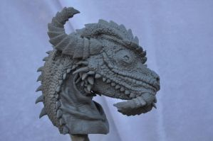 Grinning Chameleon Dragon Bust by AntWatkins