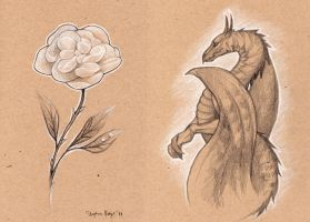 Flower and Dragon by Fallingfreely