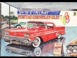Chevy Dealership Circa 1958 by FastLaneIllustration