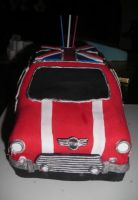 Mini Cooper Cake Front by hobbitchef