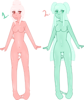 (CLOSED) Free Adoptables: Slime Girls by Acetylace-Adopts