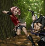 Sakura fights Sasuke by tcumm001