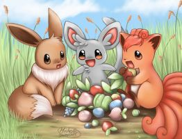 eevee chillarmy vulpix destop by michellescribbles