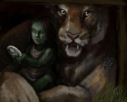 Elphaba and the mountain cat by poisonmilow
