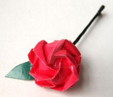 Origami Rose Hair Pin by pandacub143