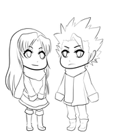 Akito and Toshiro - Lineart by CyanOnigiri