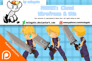 Patreon exclusive: Wireframe + UV - Cloud Fanart by molegato