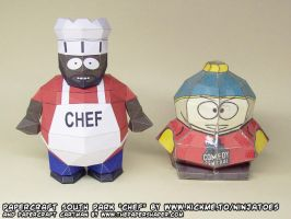 Papercraft South Park Chef + Cartman by ninjatoespapercraft