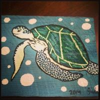 Painted Wooden Board- Blue Sea Turtle by JadasArtVision