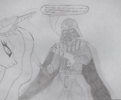 Princess Celestia vs Darth Vader by hotdino123