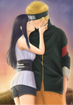 Sunset Kiss - NaruHina by KarenOArt