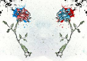The Red And Blue Flowers by GMAC06