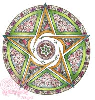 Spring Pentacle Mandala by Spiralpathdesigns