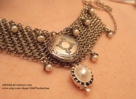 Pearl, Maille, and Lace Necklace, Done! by ulfchild
