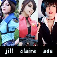 Jill Valentine, Claire Redfield, Ada Wong by AsketRedfield