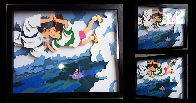 Commission: Spirited Away Shadowbox by The-Paper-Pony
