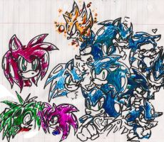 Hen Scratching- Sonic and Co by shazam26