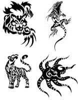 Animal Tribal Tattoos by Canyx
