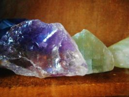 Amethyst and Green Calcite by Midnyt-Moonlight