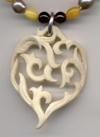 carved bone heart necklace by Bonecarverpm
