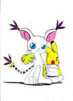 pikachu and gatomon 2 by ss2sonic