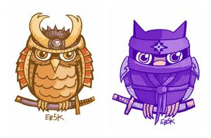 Samurai and Ninja Owl Edition by edbot5000