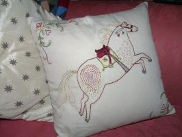 horse cushion cover 2 by Blue-eyed-Kelpie