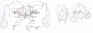 Trixie, Sunset, Dusk, and Cadence (Sketch) by Solratic