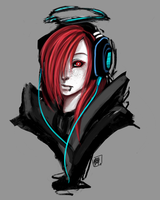 OC: Headphones and Halo by Sanpincha