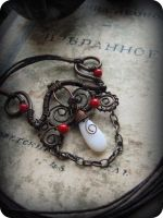 Wire Wrapped Necklace with Coral and Glass by Lirimaer86