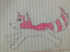 Wolf with pink stripes by Wishieanne217