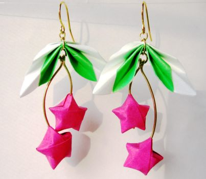 Cherry Earrings - Paper Star by pandacub143