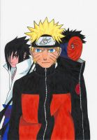 Naruto, Sasuke and Tobi by sasukevsnaruto101
