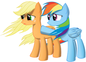 Applejack Rainbow Dash Sad by plasmagr3nade