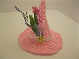 Pink Flower Mini Witch Hat by YarnTwisters