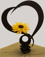Chocolate Heart and sunflower showpiece by mysweetstop