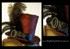Gothic Glam Burgundy Top Hat by RagDolliesMadhouse