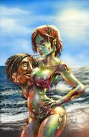 Zombie love on the beach by AxelMedellin