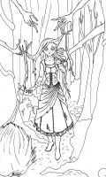 Enchanted forest: line art by lady-of-crow