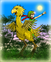 Collab. Chocobo and Rydia by rydi1689