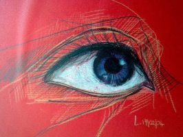 eye on red paper by letychan81