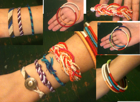 Embroidery thread bracelets (Comissions?) by ContntlBreakfst