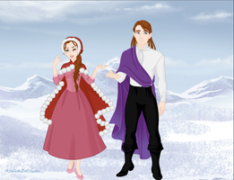 Belle and Prince Adam in Winter by Kailie2122