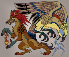 Coyote and Thunderbird by LynxGriffin