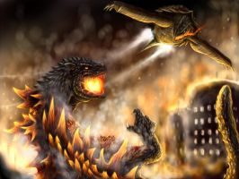 GAMERA vs GODZILLA by narutakiyu