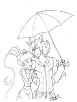 Raining More than Ever LineArt by Hasana-chan