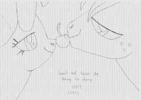 Hearts and Hooves day sharing the cherry drawing by SyncedsArt
