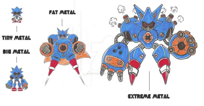 Tiny / Big / Fat / Extreme Metal Sonic designs by funkyjeremi