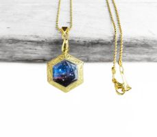 Midnight Blue Galaxy Brass Hexagon Locket Necklace by crystaland