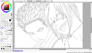 Blood Lad Wolf and Akim Outline by BlackBloodFire